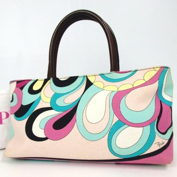 EMILIO PUCCI Geometric pattern Canvas Leather Bag
